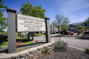 Heritage Heights Apartments parking lot sign