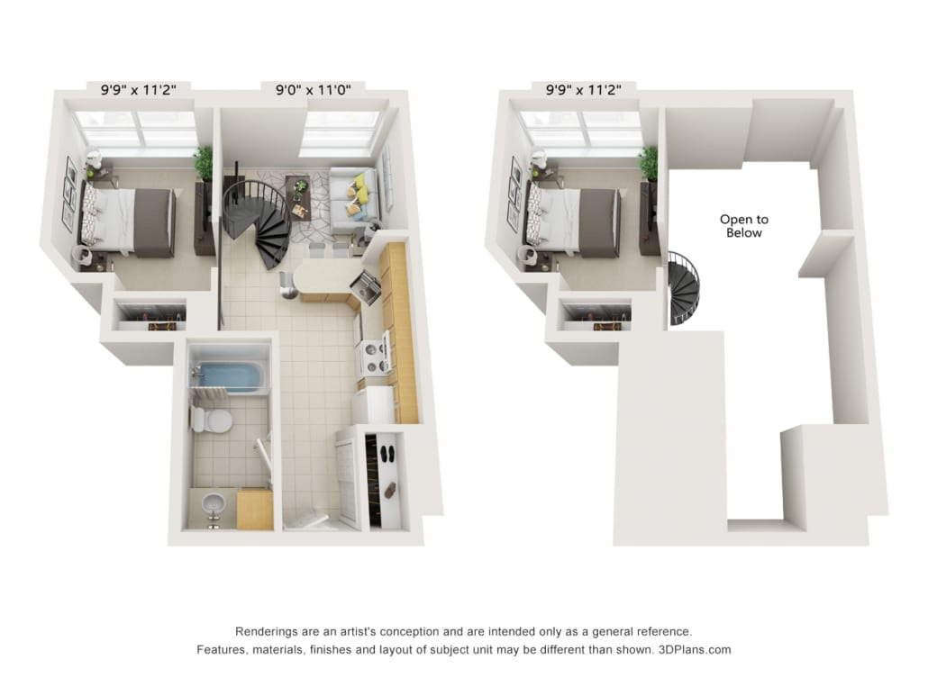 Layout of 2bed 1 bath