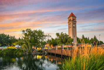Spokane Clock Tower and river